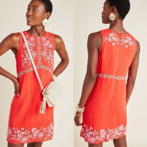Anthropologie Dress 8 AIko Embroidered Shift Linen